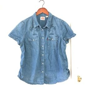Levi's Western Pearl Snap short sleeve denim shirt